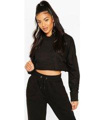 basic cropped hoodie, black