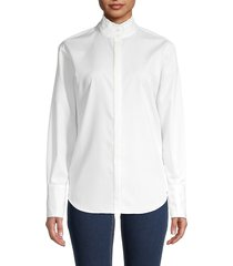 frame women's ruffle-neck shirt - white - size s