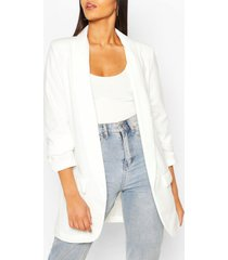 tall ruched sleeve blazer, white