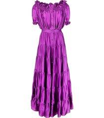 amen shirred off-shoulder gown - purple