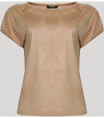 blusa em suede feminina manga curta marrom claro