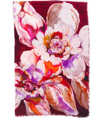 franco ferrari floral print multicolor cashmere wool shawl multicolor/floral print sz: