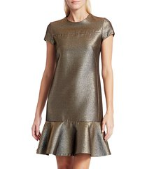 akris punto women's lamé cap-sleeve dress - gold - size 10