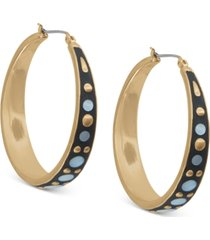 lucky brand gold-tone medium mother-of-pearl hoop earrings, 1.75""