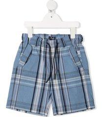 il gufo plaid-print drawstring shorts - blue