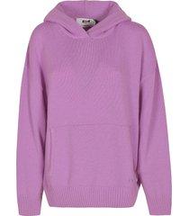 msgm rib knit plain hoodie