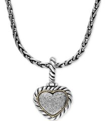 balissima by effy diamond heart pendant (1/5 ct. t.w.) in sterling silver and 18k gold