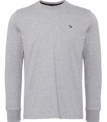 ps by paul smith grey marl organic-cotton zebra logo long-sleeve t-shirt ptxd-828r-zebra-72