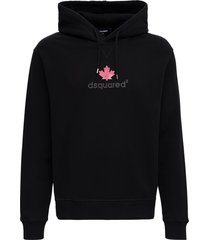 dsquared2 black cotton hoodie with logo print