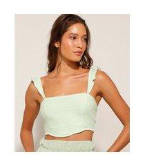 top cropped corset texturizado com babados verde