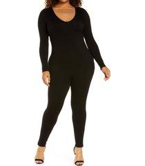 plus size women's naked wardrobe long sleeve jumpsuit, size 3x - black