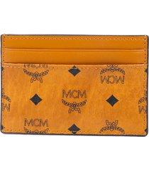 mcm visetos card case wallet brown black leather black/brown/monogram sz: n