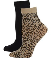 2-pack solid & animal-print trouser socks