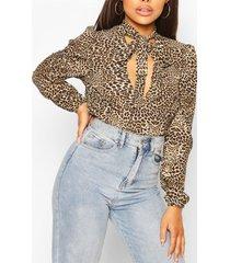 luipaardprint blouse met v-hals en ceintuur, bruin