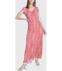 vestido io vestido largo animal print rojo - calce holgado