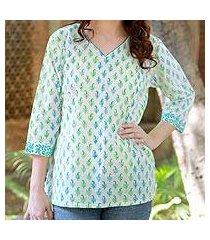 women's cotton tunic, 'jaipur fantasy' (india)
