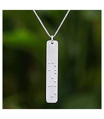 sterling silver pendant necklace, 'braille smile' (thailand)