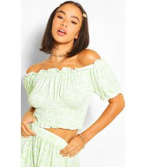 floral peasant puff sleeve crop top, sage