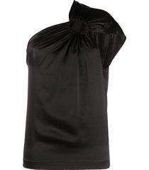 matériel one-shoulder hoop blouse - black