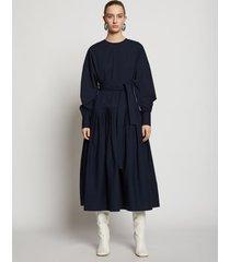 proenza schouler belted cotton dress navy/blue 6