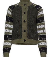 knit pattern stickad tröja cardigan grön ganni