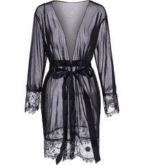 belted eyelash lace panel sheer mesh robe