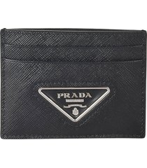 prada triangle logo plaque card holder
