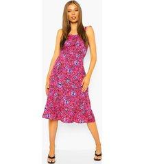 bloemenprint midi jurk met losvallende zoom en ceintuur, hot pink