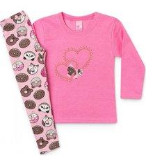 conj. infantil casaco moletom corações e legging chiclete