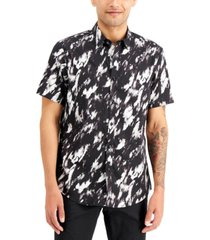 inc men's rayner abstract short sleeve shirt, created for macy's