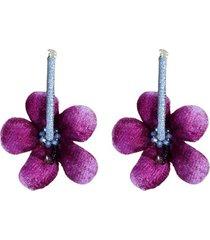 aretes flores cayenas mini morado- atalí