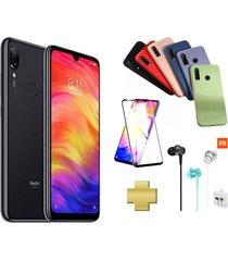 celular xiaomi redmi note 7 128gb 4gb ram 48mpx negro +protector pantalla+audifonos+silicone case