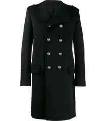 balmain double-breasted military coat - black