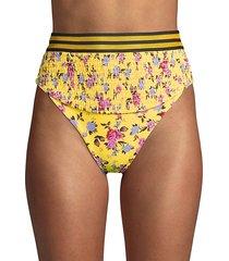 floral-print smocked bikini bottom