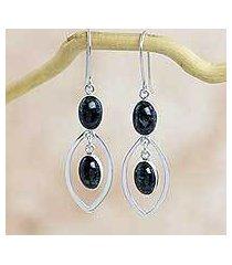 dark green jade dangle earrings, 'magical dreams' (guatemala)