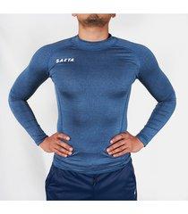 camiseta licrada manga larga azul jaspe saeta moldfit
