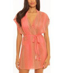 becca neon crochet kimono swim cover-up women's swimsuit
