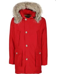 red cotton blend down jacket