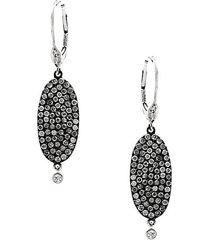 14k white gold, black rhodium-plated sterling silver & diamond disc oblong drop earrings