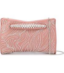 jimmy choo venus bead and crystal embellished clutch - pink