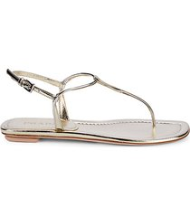 donna metallic leather thong slingback sandals