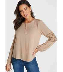 yoins blusa con diseño de parche de encaje y cuello redondo caqui
