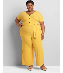 lane bryant women's ribbed belted jumpsuit 38/40 tropical yellow