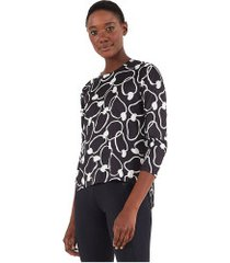 camiseta manga longa farm rio dry fit maxi caju - feminina - preto