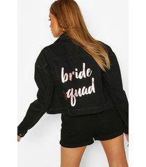 bride's squad slogan jean jacket, black