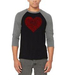 men's country music heart raglan baseball word art t-shirt