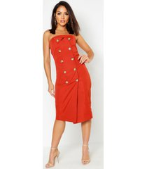 utility bandeau midi dress, terracotta