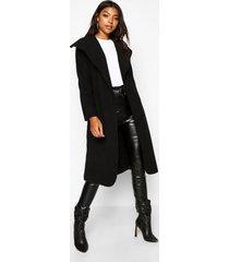 tall jas met grote kraag, zwart