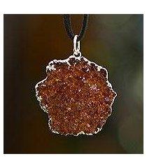 drusy citrine pendant necklace, 'dark path of the sun' (brazil)