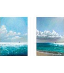 "trendy decor 4u sea bliss 2-piece vignette by eve wheeler, white frame, 15"" x 19"""